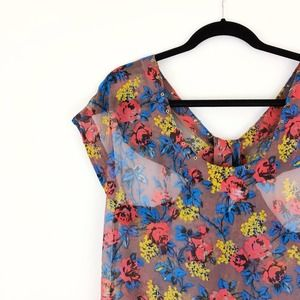 CHARLOTTE RONSON Floral Silk Sheer Cuto out top S